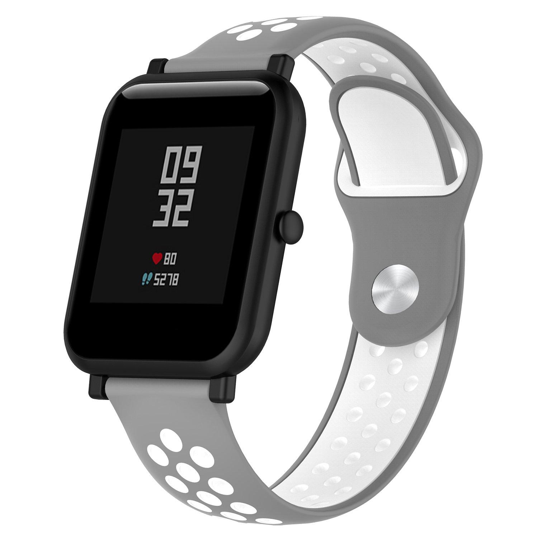Pinhen Correa para Amazfit Bip - 20mm Silicona Correa de Repuesto para Galaxy Watch 42mm, Gear S2 Classic, Huawei Watch 2, Vivoactive 3, Ticwatch E, ...