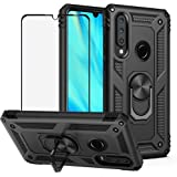 BestShare for Huawei P30 Lite Case & Tempered Glass Screen Protector, Rugged Anti-Scratch Shockproof Kickstand Armor Cover &