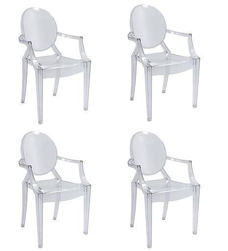 Sedie Trasparenti Tipo Kartell.Set 4 Sedie Replica Louis Ghost Design In Policarbonato Trasparente