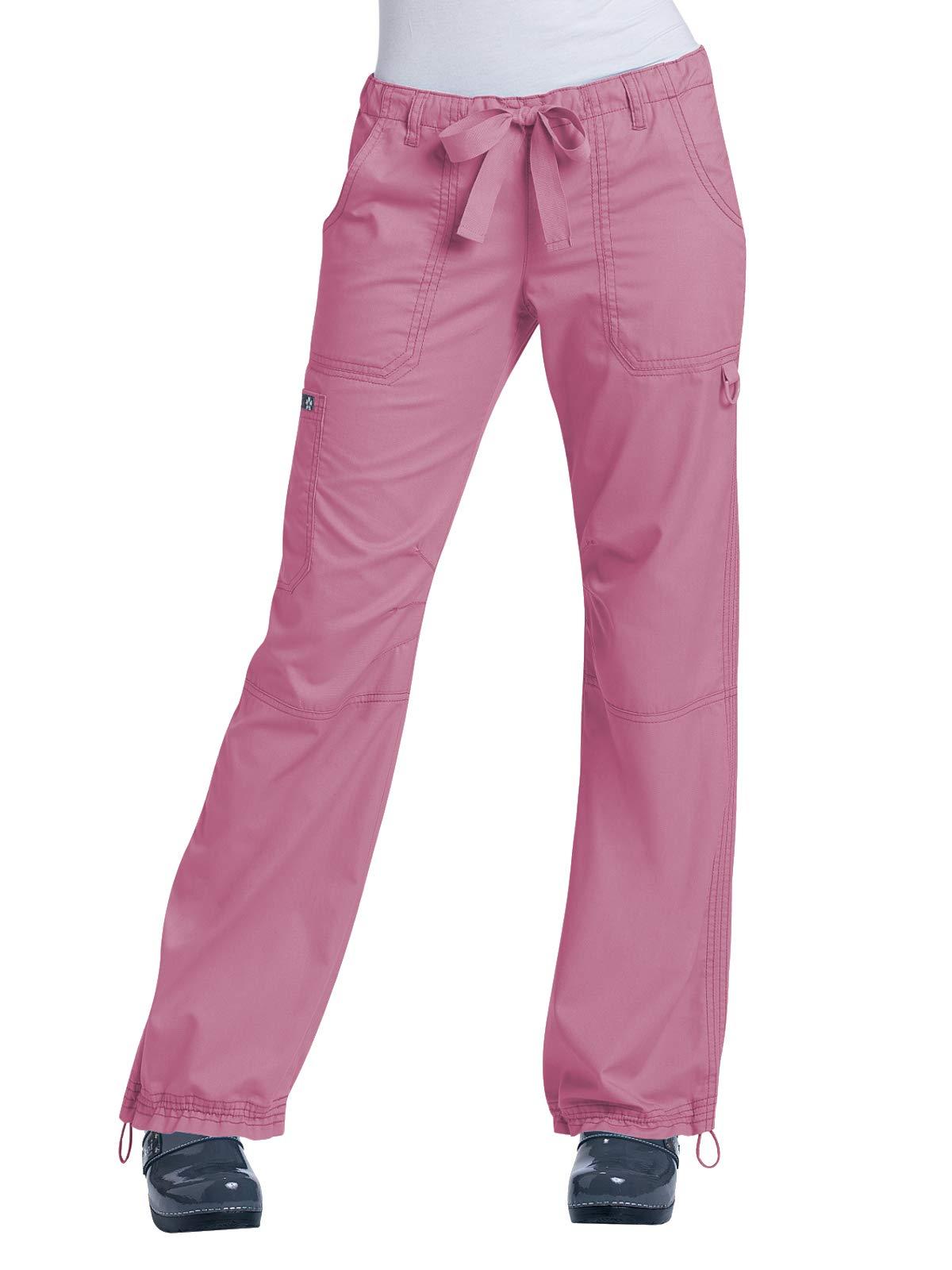 KOI Women's Lindsey Ultra Comfortable Cargo Style Scrub Pants (Petite Sizes), Pink Small