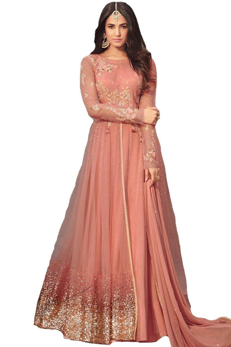 ziya Net Latest Embroidered Beautiful Anarkali Designer Salwar Kameez Maisha (Peach, XS-36)