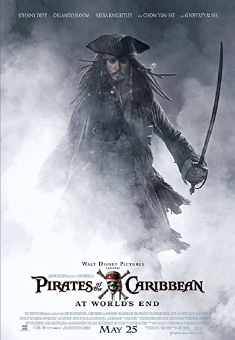 Amazon Com Piratas Del Caribe En El Fin Del Mundo Johnny Depp Póster De La Película 27 X 40 1015 Home Kitchen