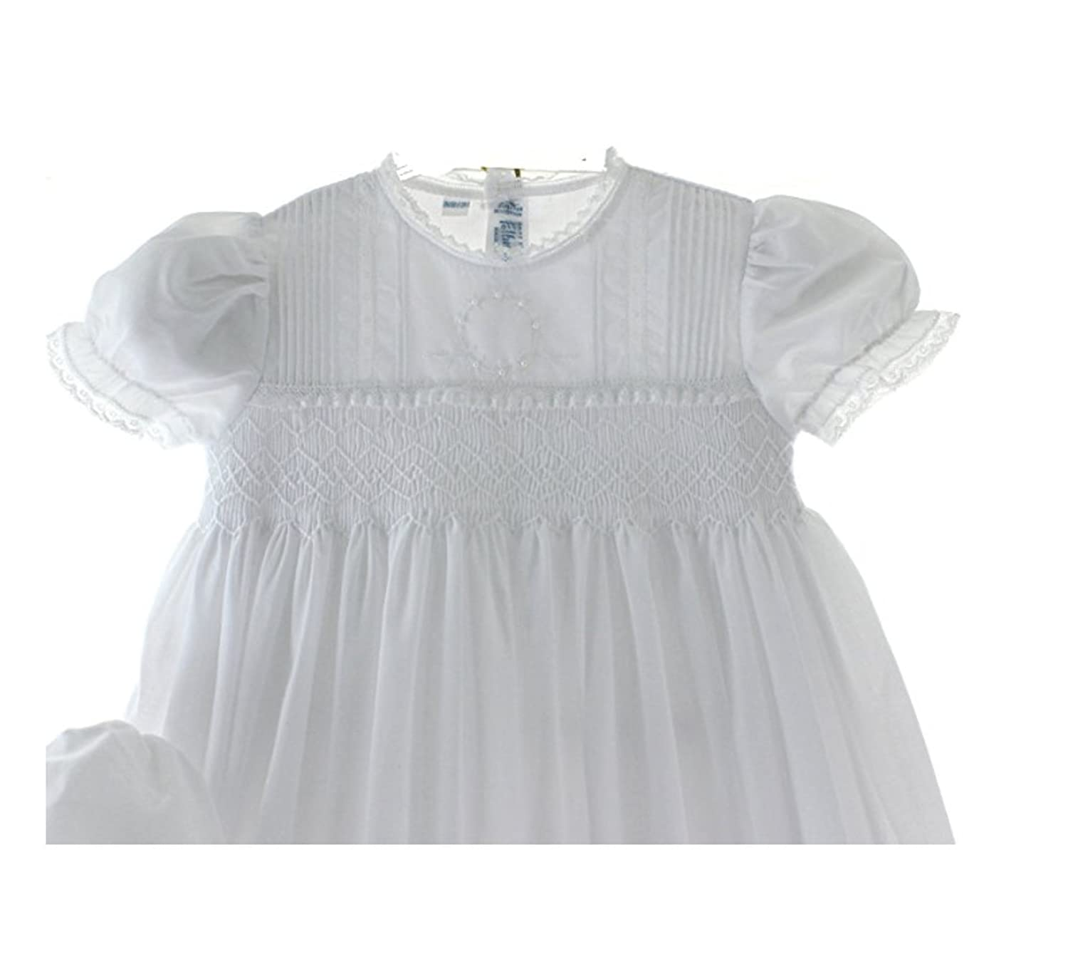 Girls White Smocked Christening Baptism Gown Bonnet Set with Pearls