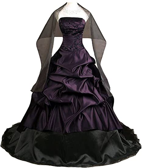 Kivary Deep Purple And Black A Line Gothic Prom Corset Wedding Dresses At Amazon Women S Clothing Store
