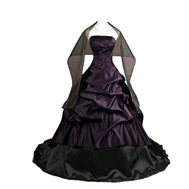 298727473bb Kivary Women s Strapless Deep Purple and Black Pick up A Line Gothic Prom  Corset Wedding Dresses