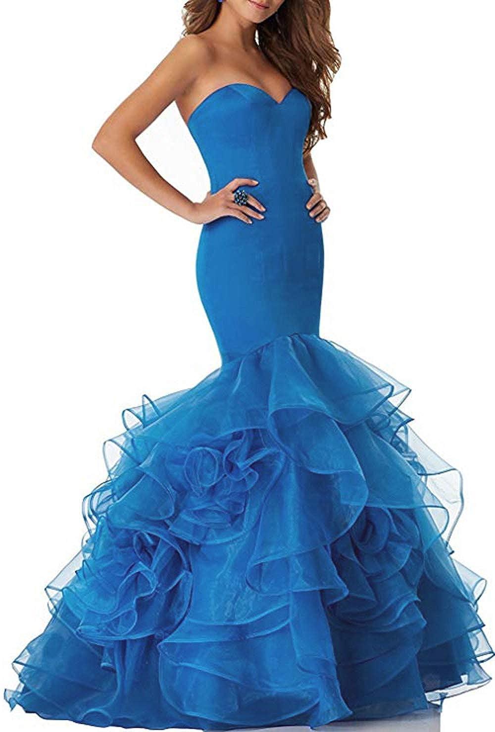 bluee Women's Sweetheart Mermaid Prom Dresses Long Strapless Ruffle Organza Formal Evening Ball Gowns 2019