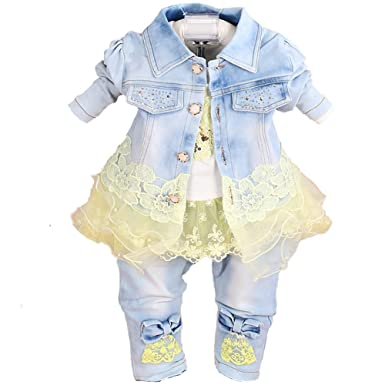 78baa0c03 Baby Girls Denim Clothing Sets 3 Pieces Sets T Shirt Denim Jacket and Jeans (Yellow
