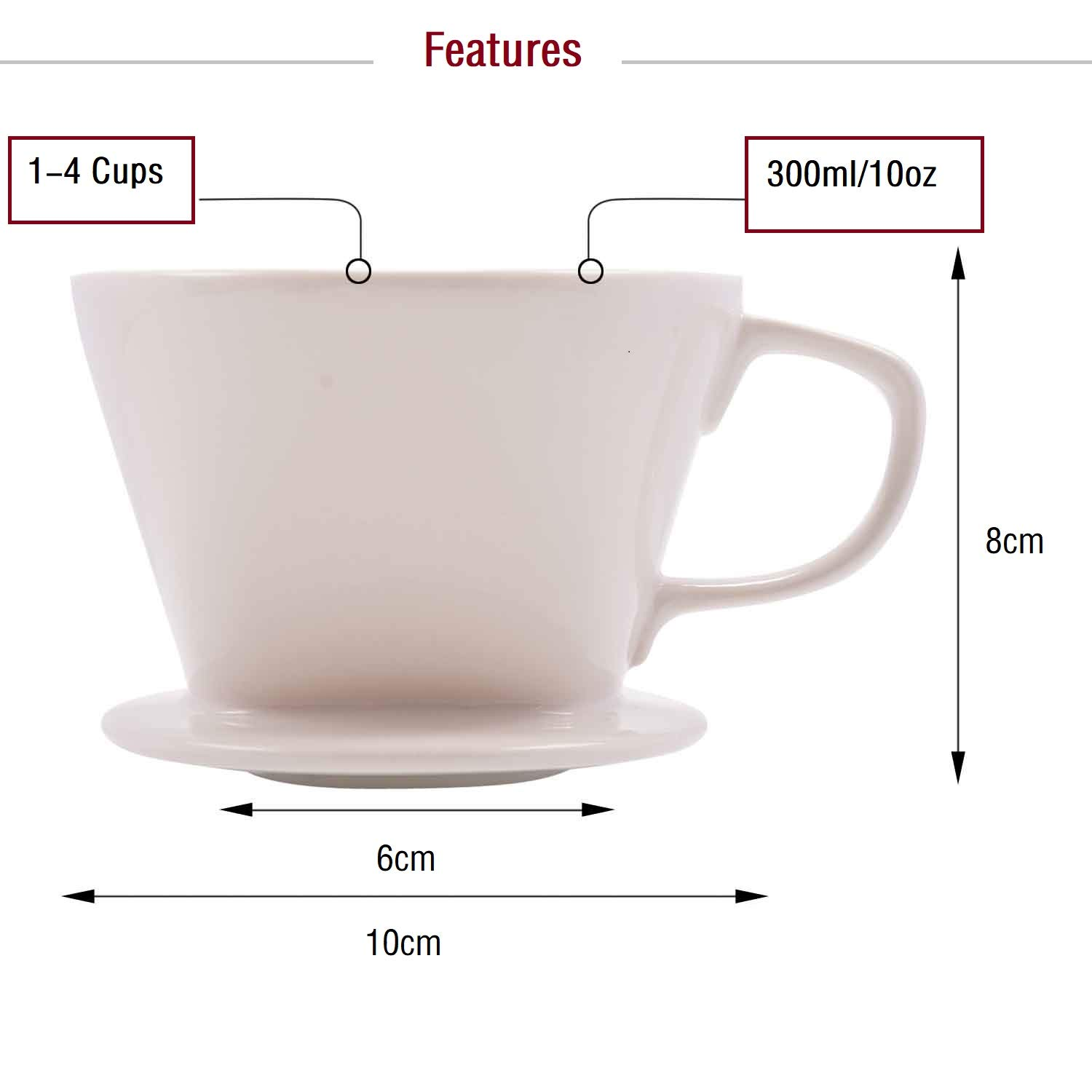 Ceramic Porcelain Pour Over Coffee Dripper Filter Holder Manual Hand Coffee Dripper Cone Reusable for No 2 or 4 Filters with Bonus Disposable Filters White by SOPRETY