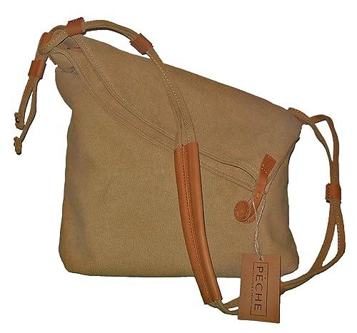 Péche Vintage Canvas and Genuine Leather Crossbody Handbag