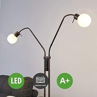 Lampenwelt Led Stehlampe Elaina Mit Leselampe Modern In Braun Aus