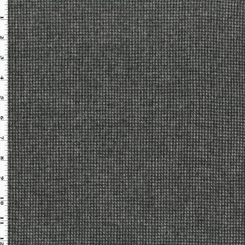 Black/White Wool Flannel Houndstooth Jacketing, Fabric by The Yard
