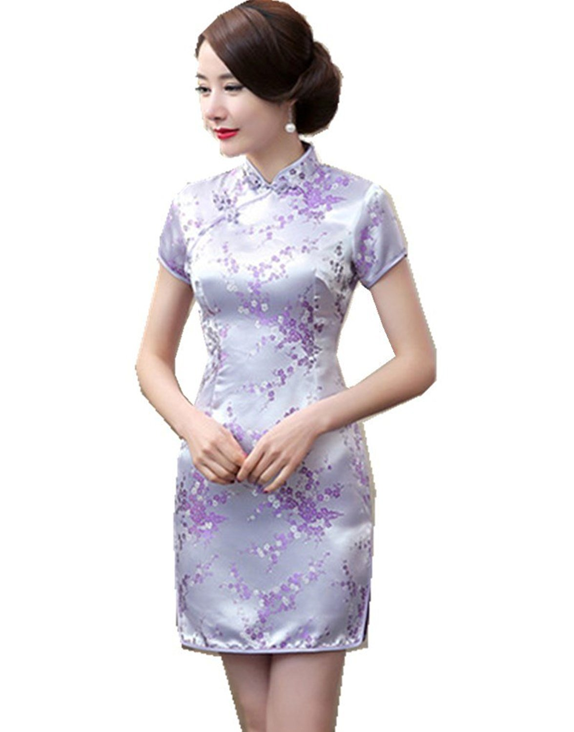 Maritchi Women's Sexy Floral Mini Chinese Evening Dress Cheongsam China Wedding Clothes (6(ChineseL), Purple)