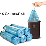 Topist Drawstring Trash Bag, Disposable Clear Garbage Bags Rubbish Bags 75 Bags for Home, Kitchen, Bathroom, Office, 9 Gallon(5 Rolls)
