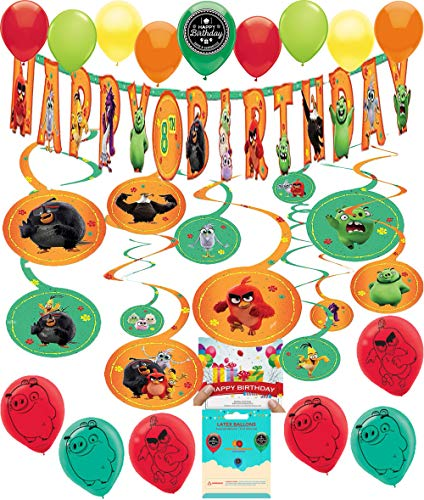 Angry Birds Party Decorations (Angry Birds 2 Party Supplies Birthday Room Decoration Add Your Own Age Banner Swirls Balloons Bundle with Birthday Card and Treat)