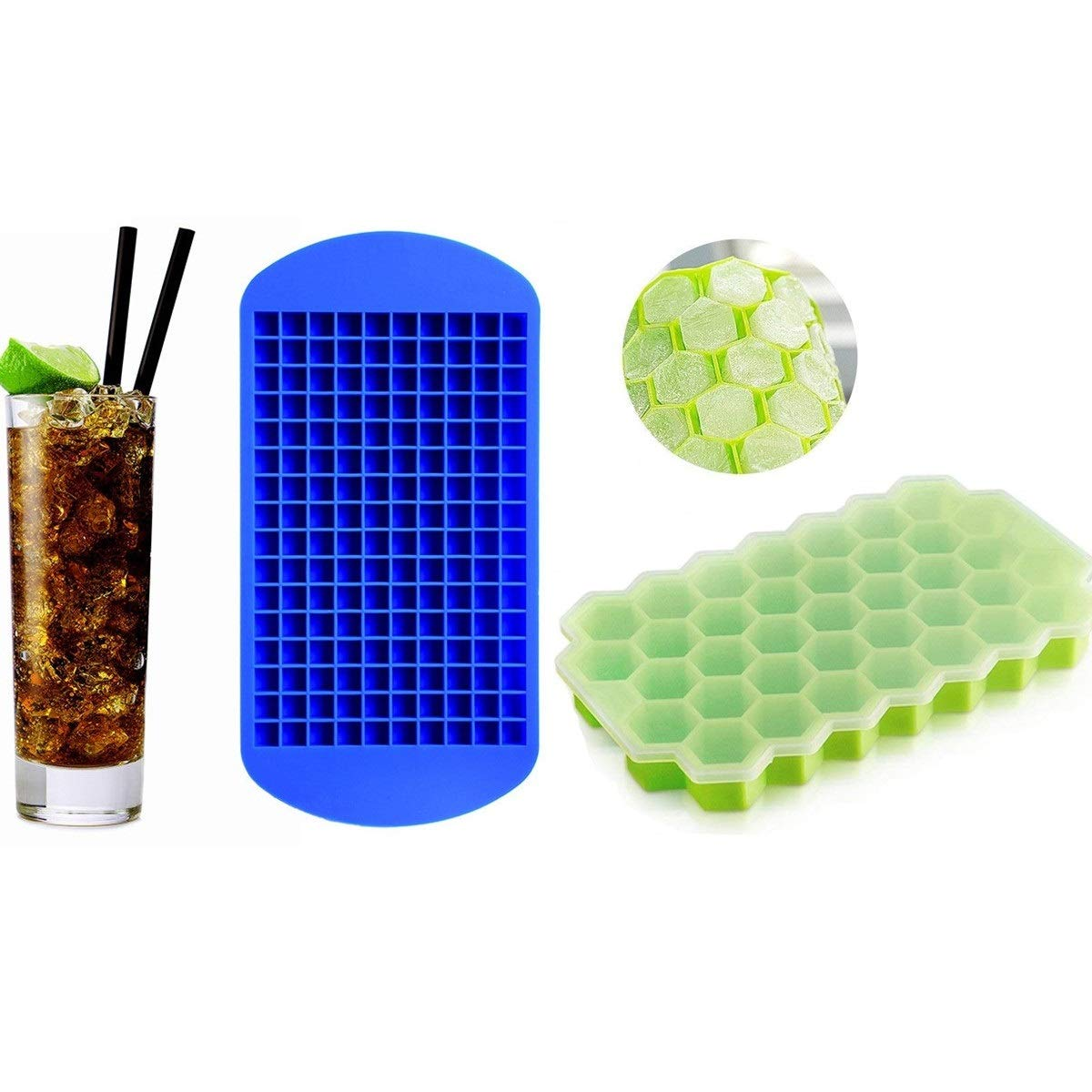 Ice Cube Trays Silicone Mini Ice Cube Molds Release Ice Cube Trays with Lids for Chilling Whiskey, Cocktail, Beverages and More, Easy Release & BPA Free,2 PACK (Ice Cube+Ice Honeycomb)