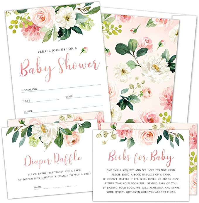 Floral baby shower baby shower game card Diaper Raffle baby shower addon card Boho Rose Floral Diaper Raffle card AD-50 diaper ticket