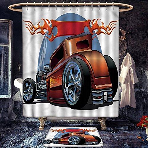 Longbuyer Cars patterned Shower curtain bath mat Cartoon Hot