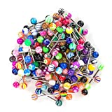SHINEstyle 100 Pcs 14G Assorted Colors Mixed Nipple Tongue Rings Barbells Body Piercing Jewelry