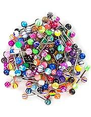 SHINEstyle Lot de 100 14 G varios colores Mixed lengua anillos pesas cuerpo niple Piercing Joyas
