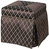 Jennifer Taylor Home, Storage Vanity Stool, Chocolate,  Hand Tufted, Hand-Applied Nailheads, & Skirt