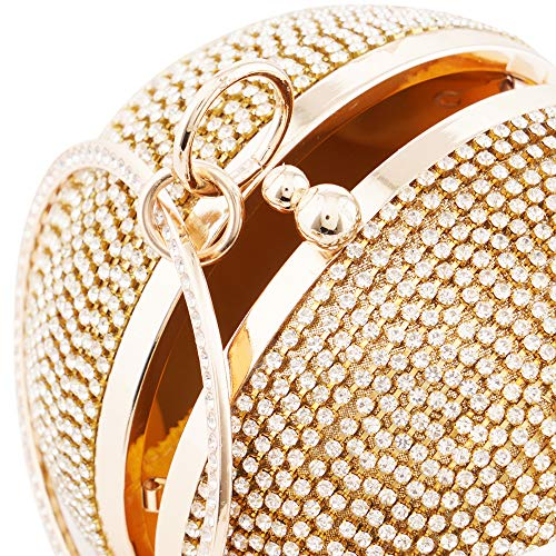 Womans Round Ball Clutch Handbag Dazzling Full Rhinestone Tassles Ring Handle Purse Evening Bag (C) by LONGBLE (Image #6)