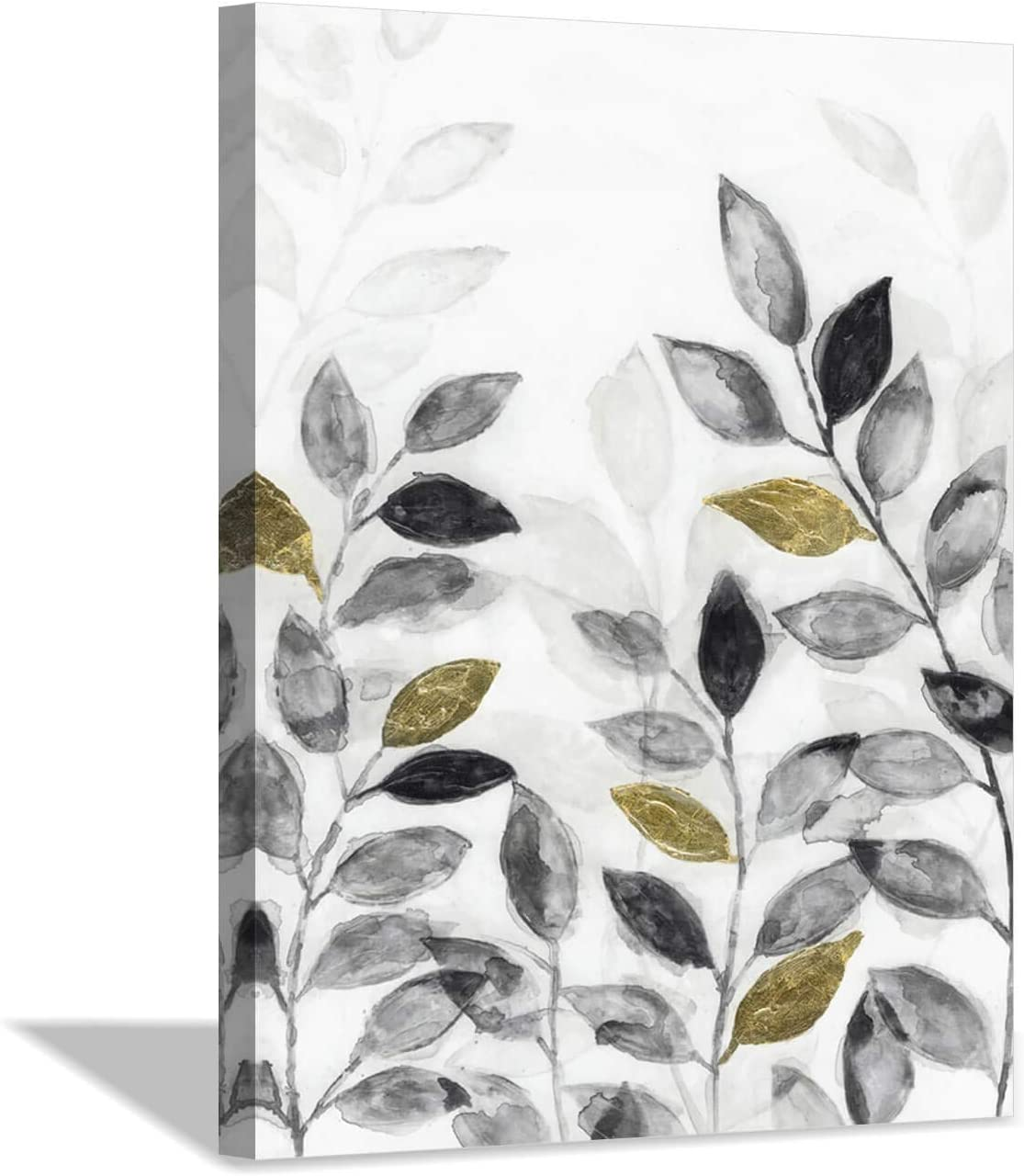 Abstract Leaves Canvas Wall Art: Gold and Dark Painting Botanical Branch Picture for Bedroom (18x24x1 Panel)