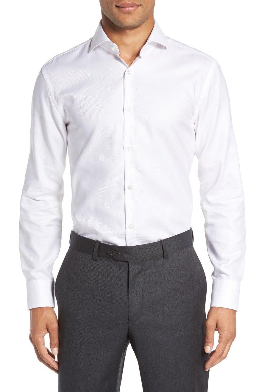 Hugo Boss Men's Mark Sharp Fit Dress Shirt ( White, 16 x 32/33 )