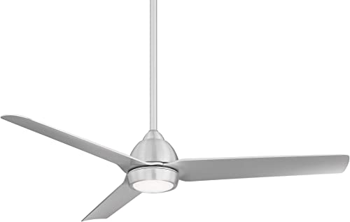 Mocha Indoor/Outdoor 3-Blade Smart Compatible Ceiling Fan 54in Brushed Aluminum