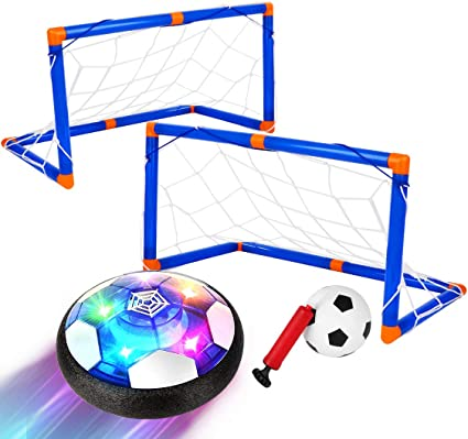 LED Rechargeable Air Hover Soccer Ball Set with 2 Goals 1 Inflatable Ball Toddler Indoor Games for Boy Girl AOKESI Kids Toys Hover Soccer Ball