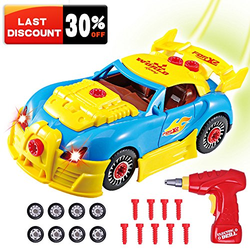 Take Apart Racing Cars Toys for Kids, Rolytoy Build Your Own Car Vehicle with Power Drill Realistic Sounds & Lights 30 Piece Constructions (Name The Day After Halloween)