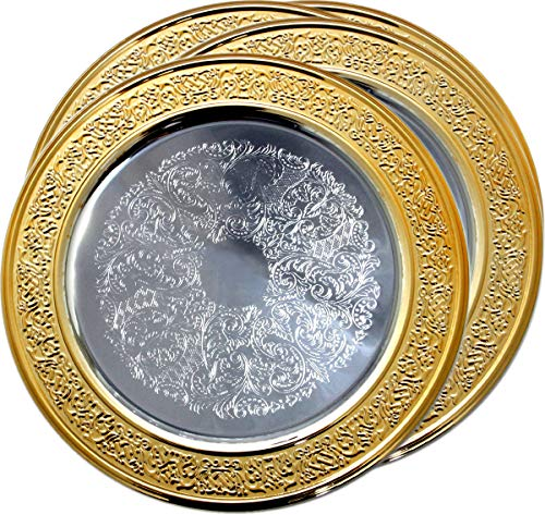 "Maro Megastore (Pack of 4) 11"" Traditional Round Floral Pattern Engraved Catering Chrome Plated Serving Tray Mirror Deco Plate Platter Tableware Holiday Wedding Serving (Gold Medium) T471-11GS-4PK"