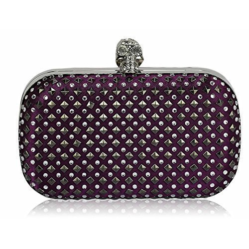 TrendStar - Cartera de mano para mujer Small púrpura - Purple Beaded Clutch Bag