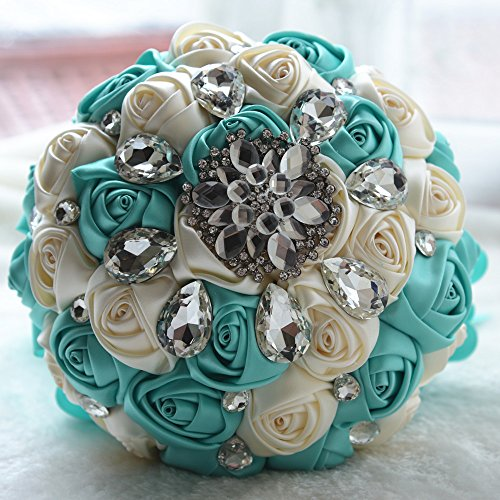 Wedding Bouquet Mint - Moleya 7 Inch Customization Romantic Mint Green Wedding Bride Holding Bouquet with Satin Roses and Rhinestones