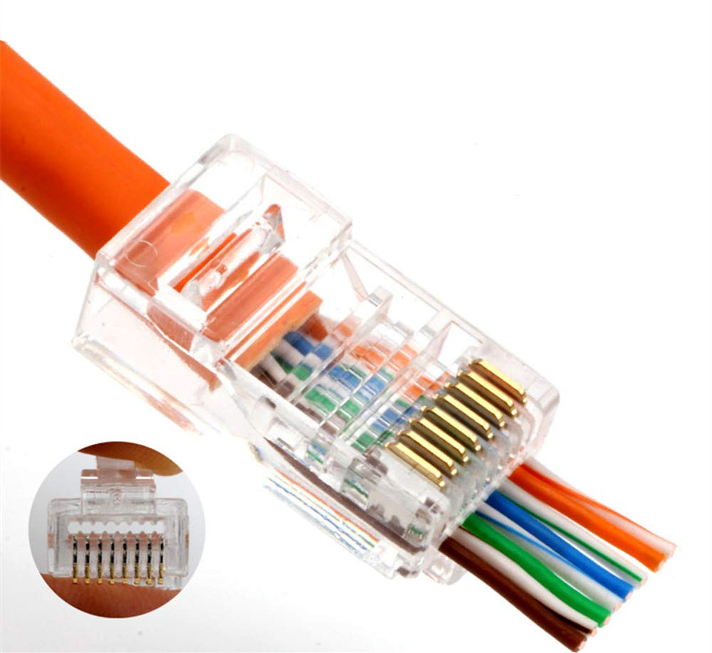 RJ45 CAT6 Connector - End pass through Ethernet 8P8C Gold Plated modular plug 100-Pack by PETECHTOOL (Image #3)