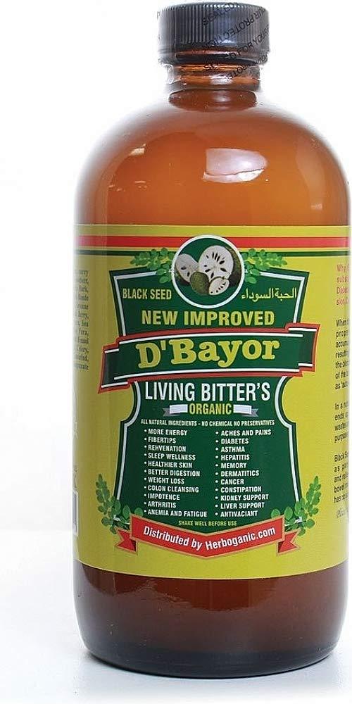 HerbOrganic D'Bayor Black Seed Organic Living Bitters [Pack of 2 - Brown - 16 oz.] by Cultural Exchange