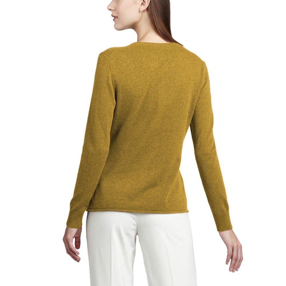 Parisbonbon Women's 100% Cashmere Crew Neck Sweater Color Goldenrod Size M by Parisbonbon (Image #2)