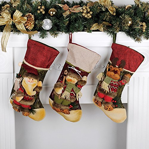 QBSM Christmas Xmas Stocking Cute Decorations Gift Toys Stockings Bag 3D Plush Linen Hanging Tag Set of 3 Santa, Snowman and Reindeer 17 inch ()