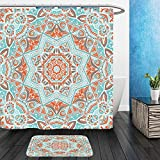 vanfan Bathroom 2?Suits 1 Shower Curtains & 1 Floor Mats Vector Tribal Mexican Style Ethnic Seamless Pattern Vintage Indian Geometric Background 417317353 from Bath Room