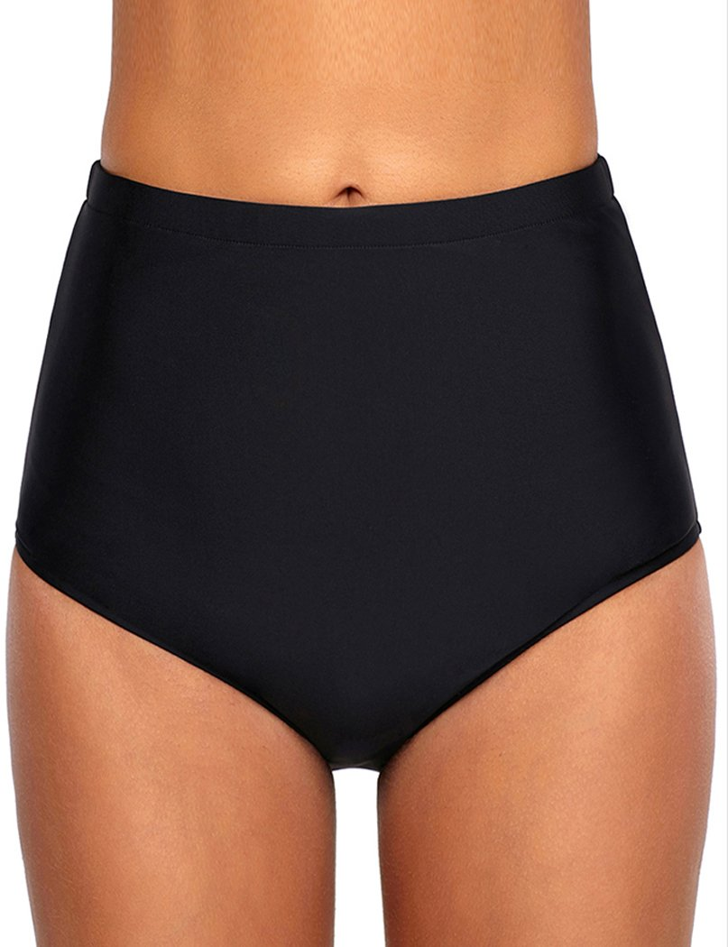YIHUAN Women's Solid Retro High Waist Swim Bottom