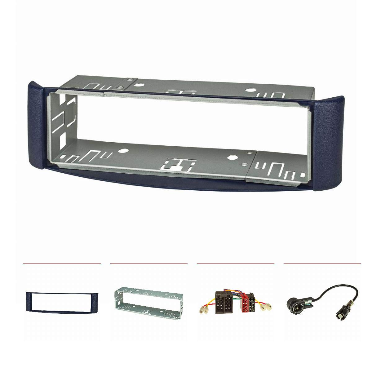 tomzz Audio  2451  –   017  Autoradio (Set) per Smart FORTWO (450) 1998  –   2007, Blu, Metallo, Colore: Adattatore ISO, ISO Antenna Adapter 2451-017