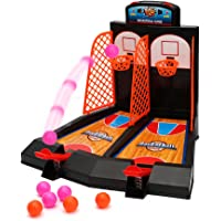Wishtime Tablero Minibasket Juego de Tiro Juego de 2 Jugadores Shootout Aros Baloncesto con Dispositivo de puntuación para niños