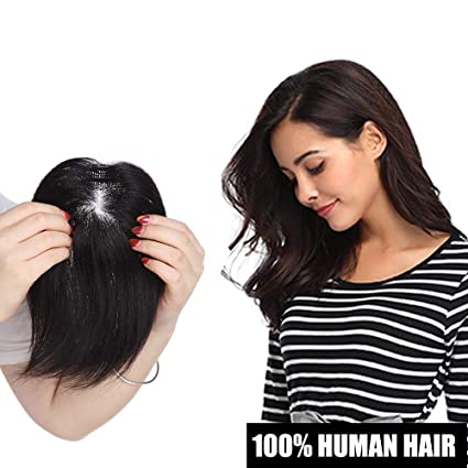 Clips Extensiones Pelo Natural Toupee Mujer [Hand Tied Silk Top Lace Net: DIiameter: