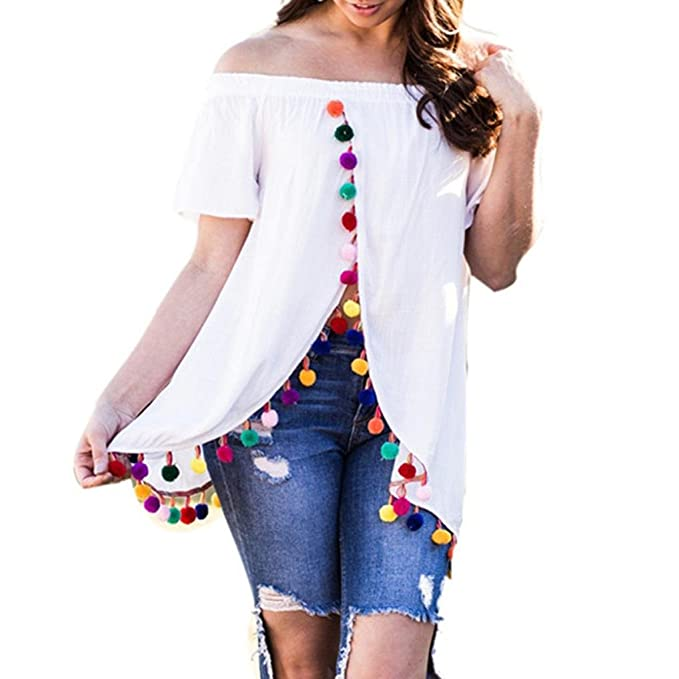 DondPO Womens Sexy Off Shoulder Women Blouse Short Sleeve Irregular Blouse Summer Casual Loose White T-Shirt Tops at Amazon Womens Clothing store: