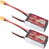 Floureon 2 Packs 4S 14.8V 1300mAh 40C with XT60 Plug Lipo Battery for RC Evader BX Car Truck Truggy Airplane UAV Drone and FPV (2.83 x 1.38 x 1.26 Inch)