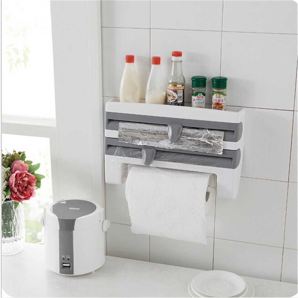hook up Kitchen Cling Film Storage Rack With Slicer Cutter Aluminum Foil Toilet Paper Holder Wall Shelf Kitchen Accessories gray