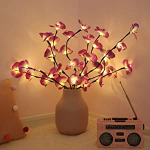 MUXAN LED Lighted Tree Branches Lights, 2 Pack Decorative Light Up Tree Lights Phalaenopsis Branches for Home Indoor Decor Battery Powered (Vase Not Included) (Purple)