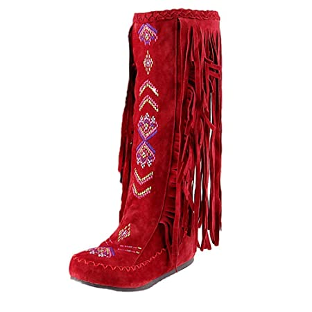 ZHRUI Stivali per Donne, Signore di Moda Tacco Piatto