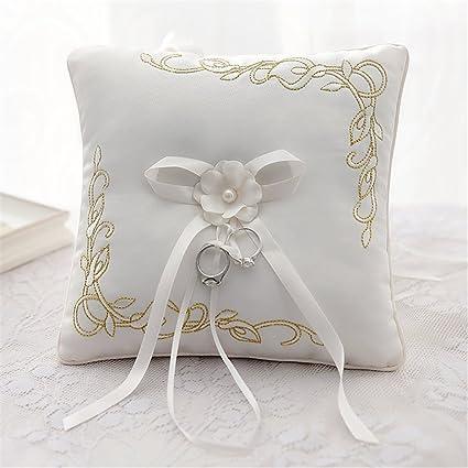 Amazon Com Hoxekle Ivory Satin Rhinestone Wedding Ring Pillow