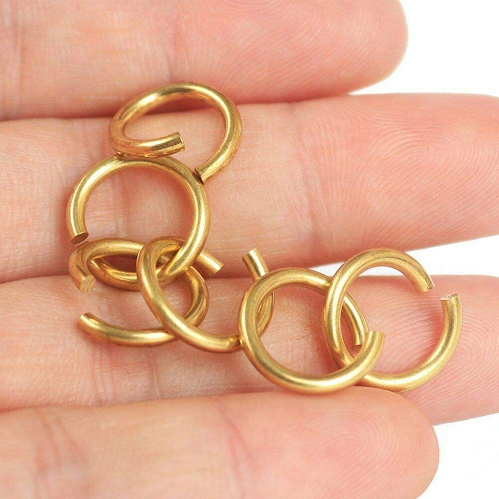 Diameter 12mm Craft and Small Projects 0.07 Thickness: 2mm Strong Open Jump Rings for Jewlry Brass 10Pcs SUPERTOOL Craft Mini Rings