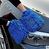Automotive : Premium Microfiber Car Wash Mitt (2-Pack), Size: XL Extra Large with free polishing cloth, Highest Density, Largest Wash Glove on Amazon, Ultra-soft, Use Wet or Dry,